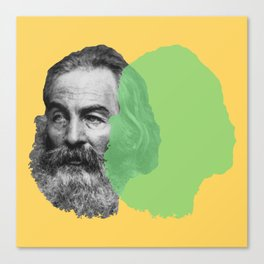 Walt Whitman portrait yellow green Canvas Print