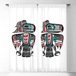 Haida Tlingit Native Raven Totem Blackout Curtain