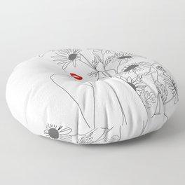 Minimal Line Art Girl with Sunflowers Floor Pillow