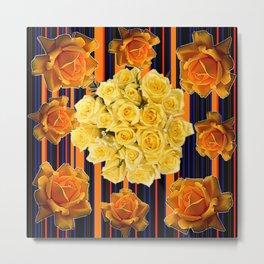 GOLDEN & YELLOW ROSES DARK STRIPES ART Metal Print