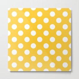 Sunglow - yellow - White Polka Dots - Pois Pattern Metal Print