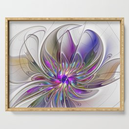 Energetic, Abstract And Colorful Fractal Art Flower Serving Tray