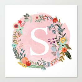 Flower Wreath with Personalized Monogram Initial Letter S on Pink Watercolor Paper Texture Artwork Canvas Print