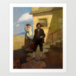 Jim Hawkins leaves home - I said good bye to my mother and the cove by Newell Convers Wyeth Art Print