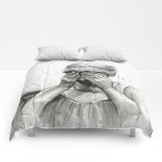 Weeping Angel Watercolor Painting Comforters