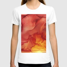 Red Sunset Abstract Ink Painting Red Orange Yellow Flame T-shirt