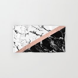 Modern black white marble color block rose gold Hand & Bath Towel