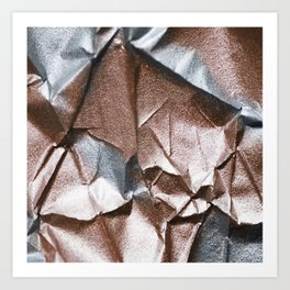 Rose Gold and Silver Abstract Art Print