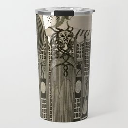 "Art Deco Sepia Illustration ""Athena"" Travel Mug"
