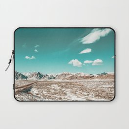 Vintage Desert Clouds // Teal Blue Skyline Mountain Range in the Mojave after a Snow Storm Laptop Sleeve