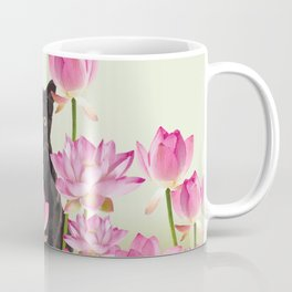 Lotus Flower Blossoms Black Cat Coffee Mug