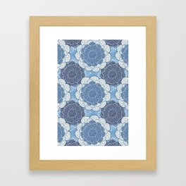 Lacy Blue & Navy Mandala Pattern  Framed Art Print