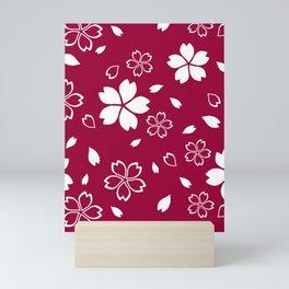 Japanese Red Sakura Pattern Mini Art Print