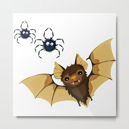 Cute bat and spiders illustration Metal Print