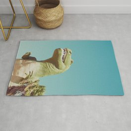 Dinosaur, T-rex, Animals, Cute, Kids, Children, Teal, Palm Springs Rug
