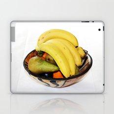 Fruit in a Wooden Bowl, Banana, orange, Pear, Plum Laptop & iPad Skin