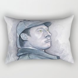 Data as Sherlock Holmes Watercolor TNG Portrait Rectangular Pillow