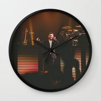sam smith Wall Clocks featuring Sam Smith by sallyclaark