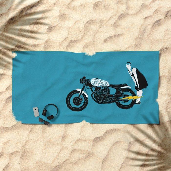 loud pipes Beach Towel