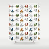 converse Shower Curtains featuring Converse by Amy frances Illustration