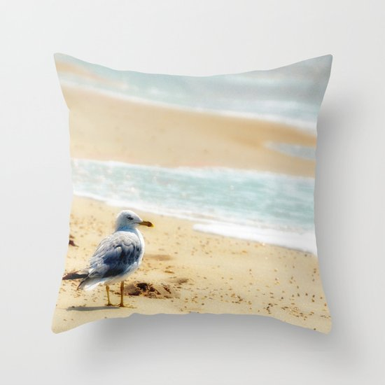Lonely gull of summer. Throw Pillow