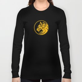 Yellow and Black Growling Wolf Disc Long Sleeve T-shirt