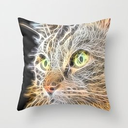 Focused Cat Electrified Neon Throw Pillow