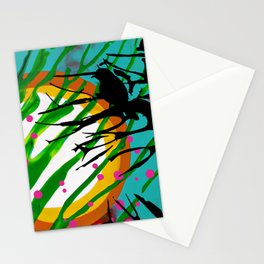 Birds Chatting: 2 birds on a branch chatting about the sun rise / sunset Stationery Cards