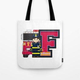 F is for Fireman Illustration Tote Bag