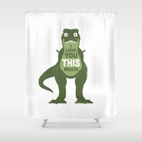 louis Shower Curtains featuring Amourosaurus by David Olenick