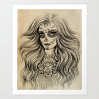 sugar skull Art Prints featuring Sugar Skull by Vivian Lau
