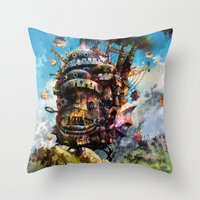 calcifer Throw Pillows featuring howl's moving castle by ururuty