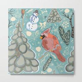 Seamless Winter Pattern with cute Cardinal Bird, Snowman and Spruce Tree Metal Print