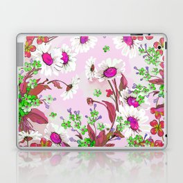 Elegant white Sunflowers and Pink floral garland Laptop & iPad Skin