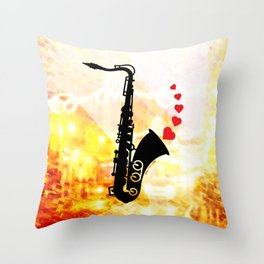 Sax and Love Throw Pillow