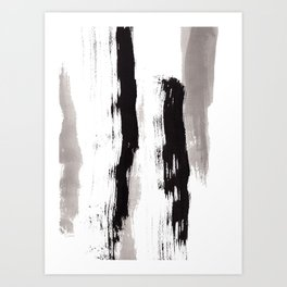 Live Your Color no.89 - black and white modern minimalist abstract brushstroke painting Art Print