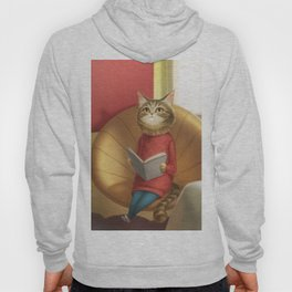 A cat reading a book Hoody