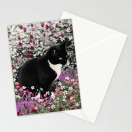 Freckles in Flowers II - Tuxedo Kitty Cat Stationery Cards