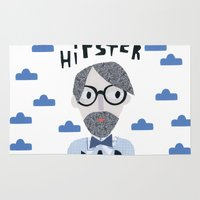 dad Area & Throw Rugs featuring Hipster Dad by Susse Collection