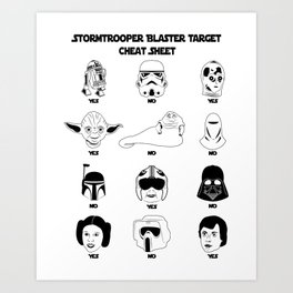 Stormtrooper Blaster Target Cheat Sheet Art Print