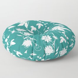 Passion Garden. Elegant Teal White Floral Pattern Floor Pillow