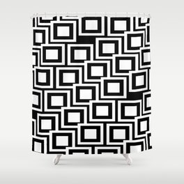 Black and White Squares Pattern 02 Shower Curtain