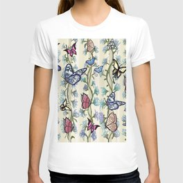 Butterflies on a Flowering Climbing Vine on a Striped Background T-shirt