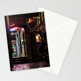 Nice alley in Brussels at night Stationery Cards