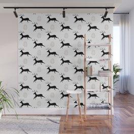 Jumping Deer and Pinecone Rustic Illustrated Print Wall Mural
