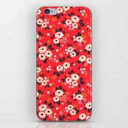 05 Ditsy floral pattern. Red background. White and pink flowers. iPhone Skin