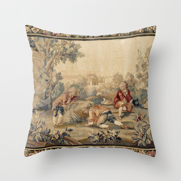 Aubusson  Antique French Tapestry Print Throw Pillow