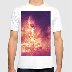 Catching Fire White SMALL Mens Fitted Tee