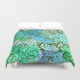 Colorful Overlapping Roses on Roses Print Design 2 Duvet Cover