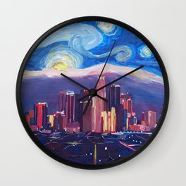 Starry Night in Los Angeles - Van Gogh Inspirations with Skyline and Mountains Wall Clock